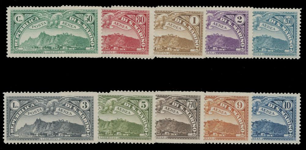 Lot 817 - San Marino air post stamps -  Raritan Stamps Inc. Live Bidding Auction #81