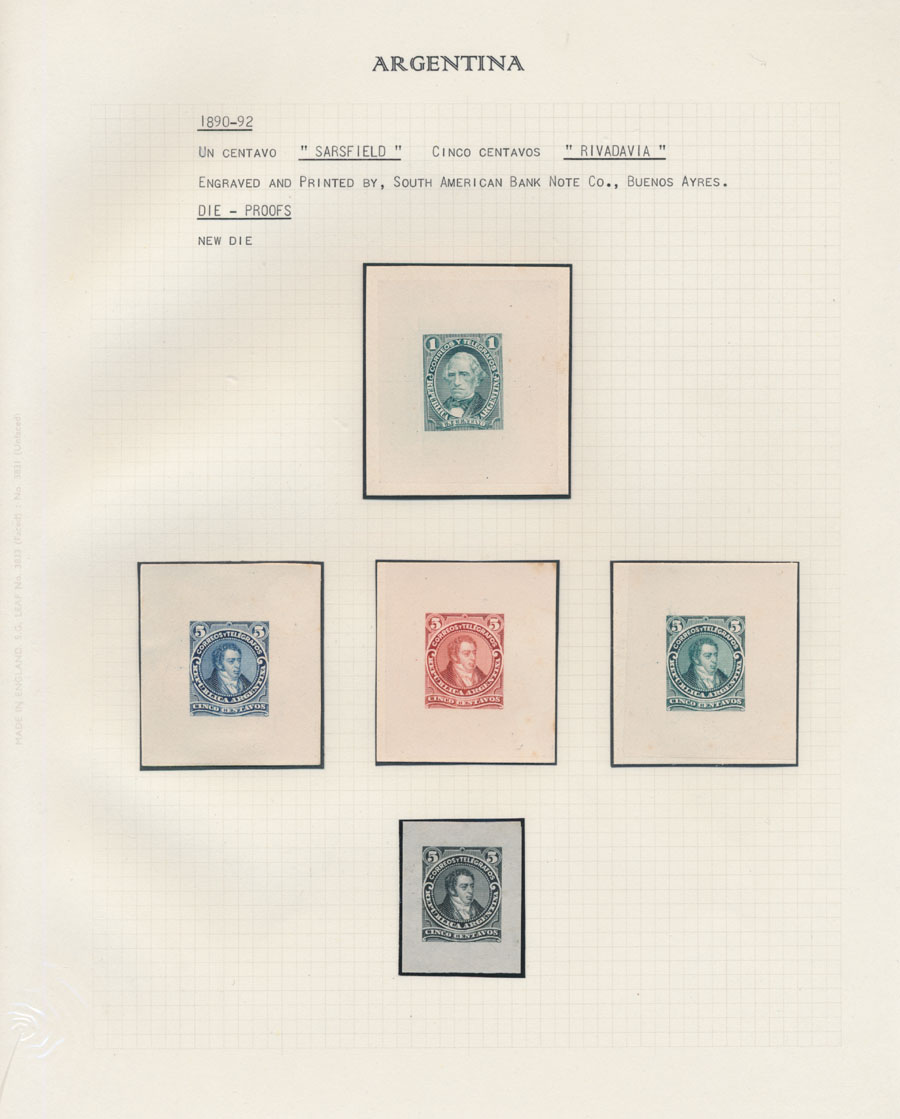 Lot 189 - Argentina - Collection of Die and Trial Color Proofs A. General issues -  Raritan Stamps Inc. Live Bidding Auction #82