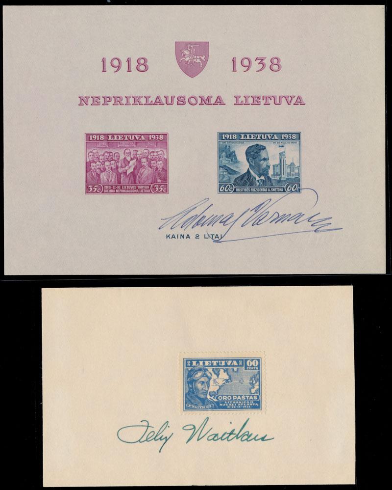 Lot 438 - Lithuania autographs of famous people -  Raritan Stamps Inc. Live Bidding Auction #82