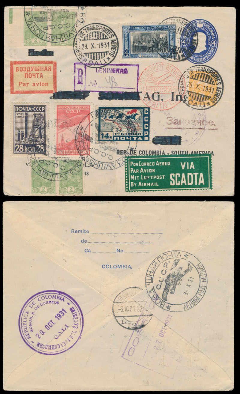 Lot 854 - russia. air post stamps and covers Pioneer SCADTA Flight -  Raritan Stamps Inc. Live Bidding Auction #82