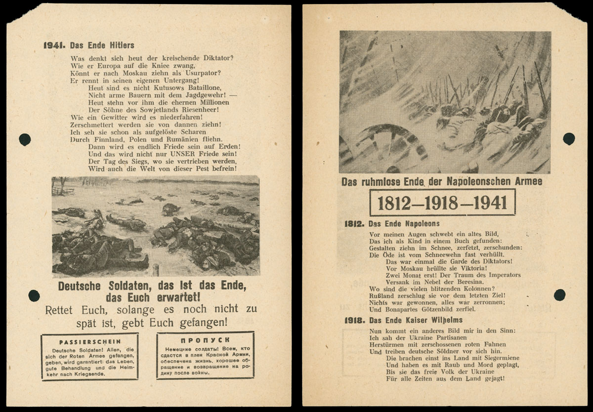 Lot 442 - germany. occupation issues of the world war ii Soviet Anti-Nazi Propaganda Leaflets Collection -  Raritan Stamps Inc. Live Bidding Auction #85