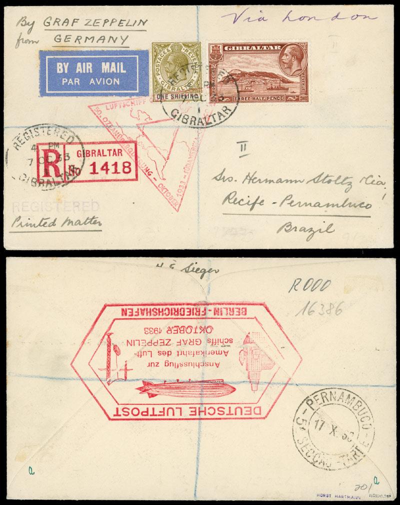 Lot 238 - British Commonwealth Gibraltar  - Zeppelin Flight -  Raritan Stamps Inc. Live Bidding Auction #89
