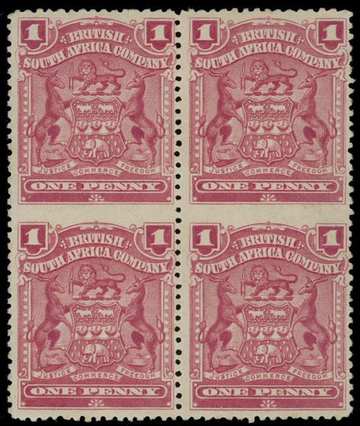 Lot 401 - British Commonwealth Rhodesia  - British South Africa Company -  Raritan Stamps Inc. Live Bidding Auction #89