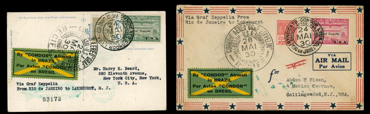 Lot 576 - brazil zeppelin flights -  Raritan Stamps Inc. Live Bidding Auction #89