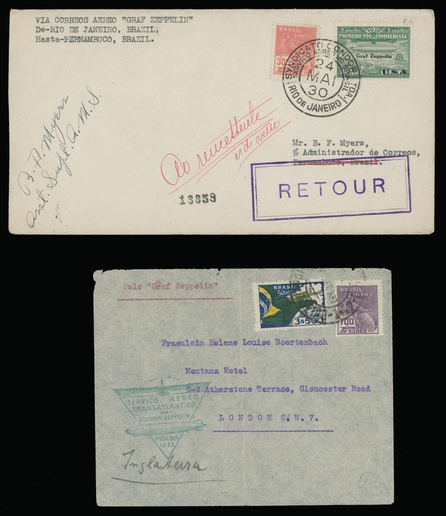 Lot 577 - brazil zeppelin flights -  Raritan Stamps Inc. Live Bidding Auction #89