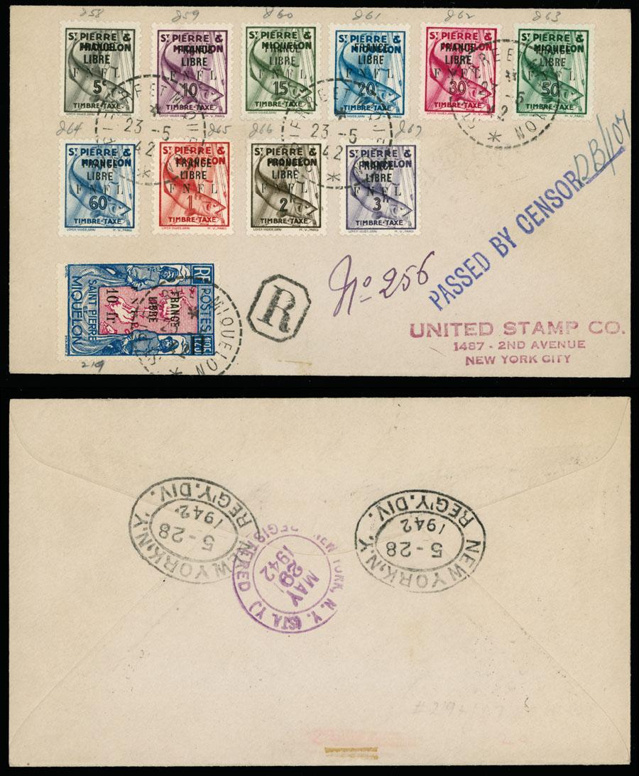 Lot 623 - french colonies Saint Pierre and Miquelon - Postage Due stamps -  Raritan Stamps Inc. Live Bidding Auction #89