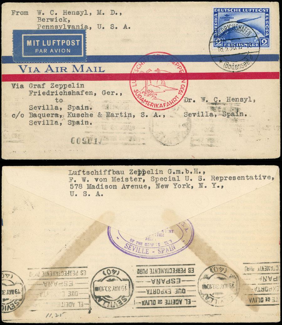 Lot 639 - germany zeppelin flights -  Raritan Stamps Inc. Live Bidding Auction #89