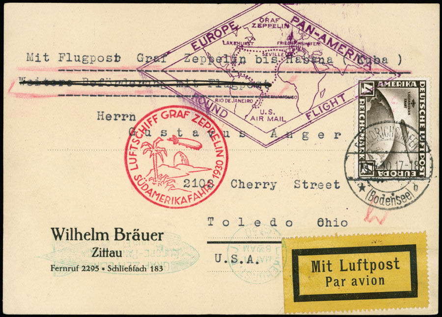 Lot 640 - germany zeppelin flights -  Raritan Stamps Inc. Live Bidding Auction #89