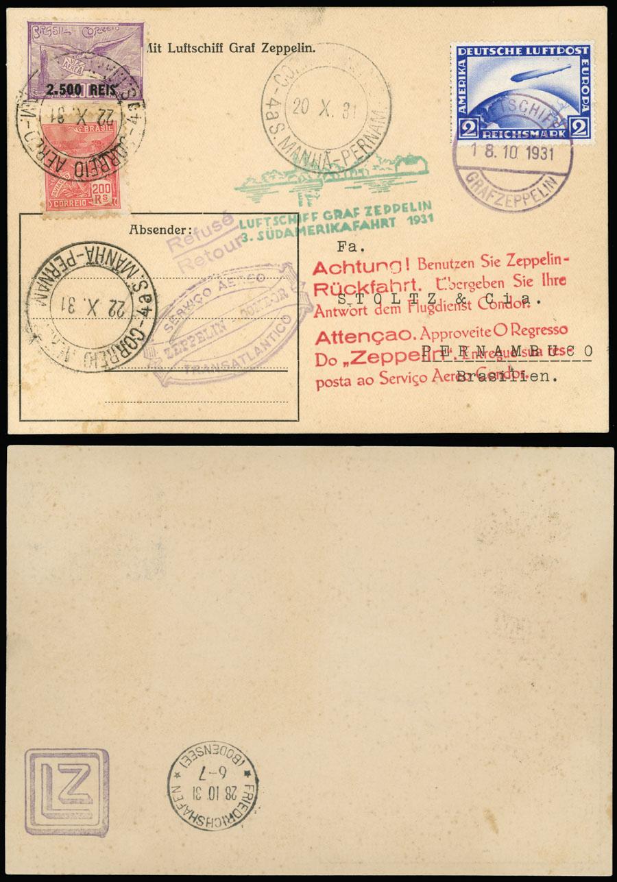 Lot 645 - germany zeppelin flights -  Raritan Stamps Inc. Live Bidding Auction #89