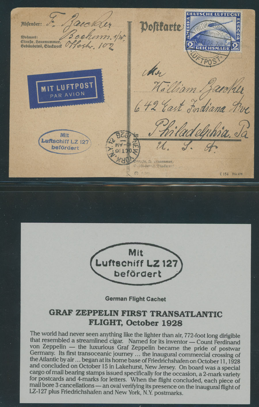 Lot 647 - germany zeppelin flights -  Raritan Stamps Inc. Live Bidding Auction #89