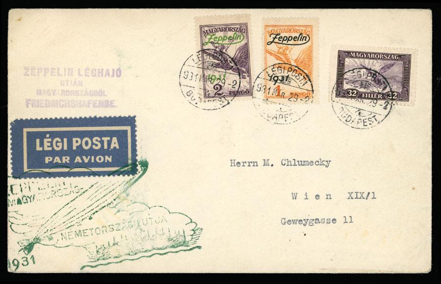 Lot 732 - Hungary zeppelin flights -  Raritan Stamps Inc. Live Bidding Auction #89