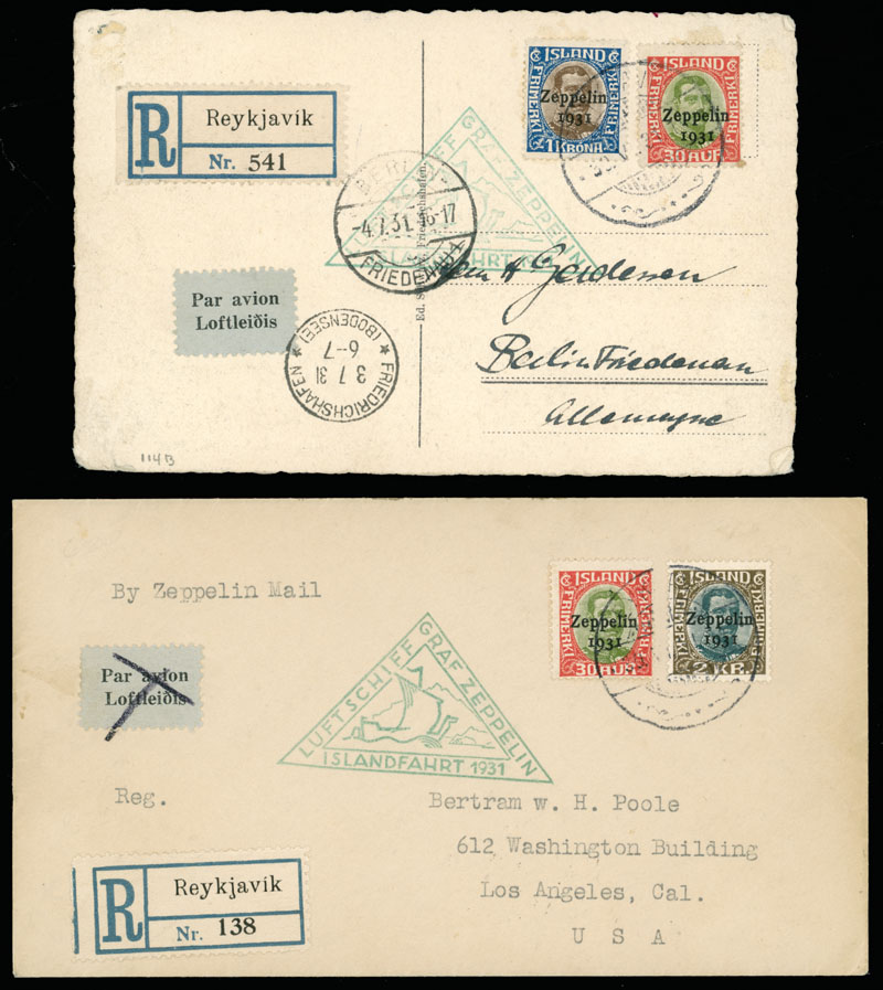 Lot 734 - Iceland zeppelin flights -  Raritan Stamps Inc. Live Bidding Auction #89