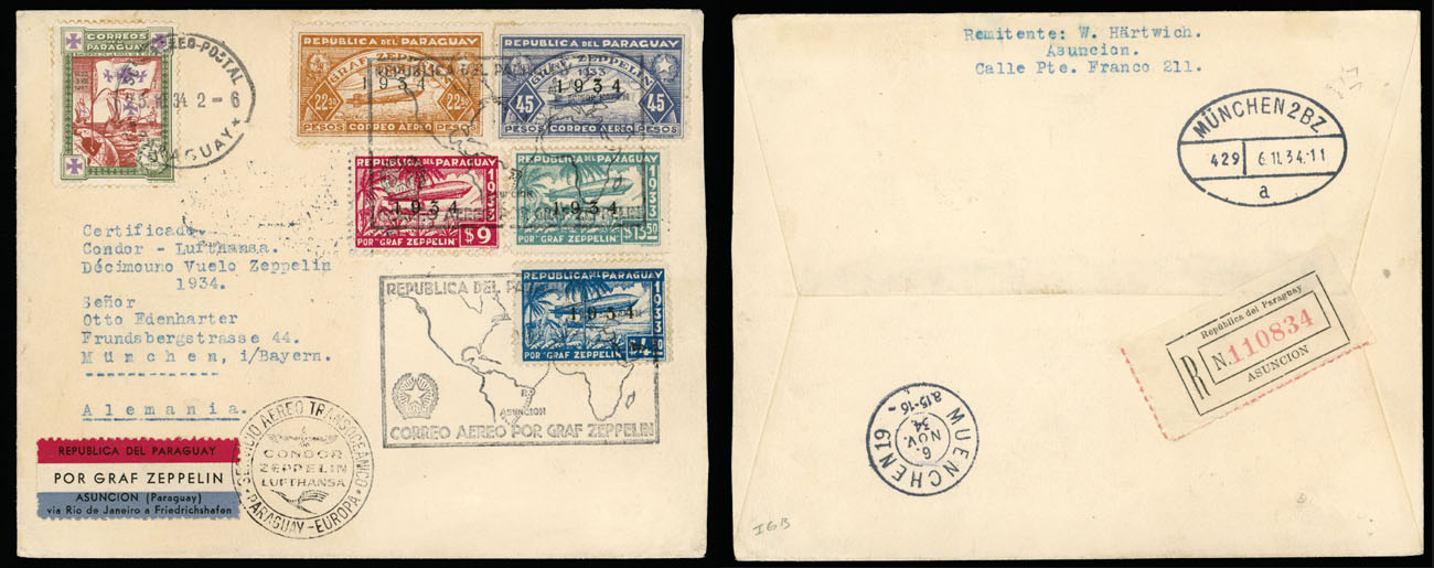 Lot 914 - Paraguay zeppelin flights -  Raritan Stamps Inc. Live Bidding Auction #89