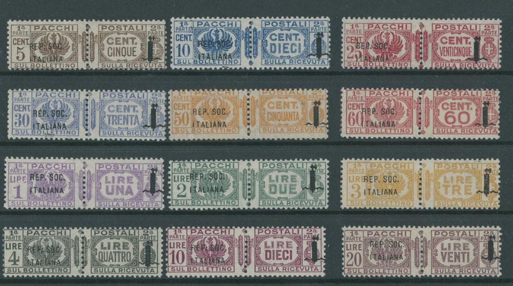 Lot 687 - italy - social republic parcel post stamps -  Raritan Stamps Inc. Live Bidding Auction #90